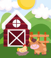 Premium Vector Farm Animals Bull Hen In Nest Wooden Fence Barn Cartoon