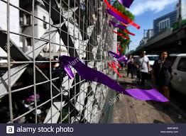May 11 2018 Philippines Purple And Red Ribbons Tied Around The Supreme Court Fence In Manila