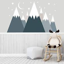 Dark Blue Grey Mountain Decal Kids Room Made In The Usa Mountain Wall Mural Woodland Decor Baby Boy Nursery Stickers Snowy Mountains With Moon And Stars Sa98 Buy Products Online With