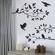 Black Bird And Tree Branch Leaves Wall Sticker Decal Removable Birds On The Branch Tree Art Home Decor Murals Decoration Polka Dot Wall Decals Pretty Wall Decals From Magicforwall 2 02 Dhgate Com