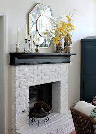 white brick fireplace
