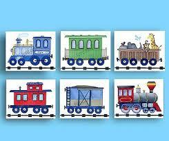 train nursery art prints for boys