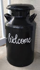 Welcome Decal Milk Can Decal Front Door Decal Farmhouse Etsy Front Door Decal Milk Can Decor Old Milk Cans