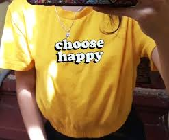 kuakuayu hjn choose happy women yellow t shirt tumblr aesthetic