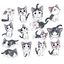 14pcs Cute Cheese Cat Stickers Anime Cartoon Graffiti Luggage Trolley Case Sticker Laptop Kid Toys Creative Cat Decal Decoration Stickers Aliexpress
