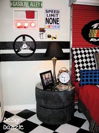 50 Ideas For Car Themed Rooms Featured On Design Dazzle Nascar At Its Finest Car Themed Bedrooms Cars Room Car Themed Rooms