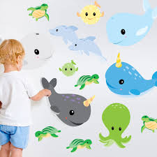 Amazon Com Sealife Wall Decal Kit Narwhal Whale Wall Decal By Chromantics Beauty