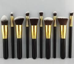 10 piece kabuki makeup brush set logo