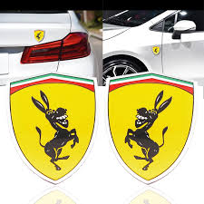 3d Aluminum Donkey Logo Car Window Body Sticker Funny Metal Badge Sticker Emblem Decal Accessories For Ferrari Car Styling Car Stickers Aliexpress