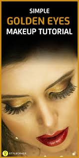 how to apply simple gold eye makeup