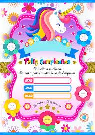 Molde Tarjeta Unicornio Imprimir Invitaciones Gratis 3 535 5 000