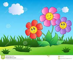 three cartoon flowers on meadow stock