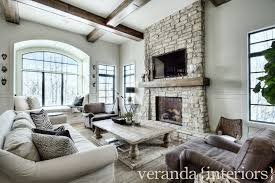 stacked stone fireplace transitional