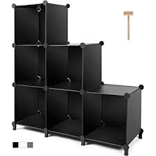 Amazon Com Tomcare Cube Storage 6 Cube Closet Organizer Storage Shelves Cubes Organizer Diy Plastic Closet Cabinet Modular Book Shelf Organizing Storage Shelving For Bedroom Living Room Office Black Furniture Decor