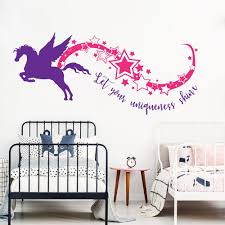 Large Unicorn Let Your Uniqueness Shine Star Rainbow Wall Decal Nursery Kids Room Horse Pet Star Inspire Quote Wall Sticker Wall Stickers Aliexpress