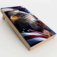 Amazon Com Skin Decals Vinyl Wrap For Cornhole Game Board Bag Toss 2xpcs Usa Bald Eagle In Flag