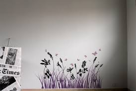 Wall Sticker With Grass Flowers And Dragonflies Idfdesign