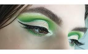 bright green cut crease makeup look