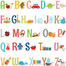 Amazon Com Decowall Ds 8023 Alphabet Abc With Pictures Kids Wall Stickers Wall Decals Peel And Stick Removable Wall Stickers For Kids Nursery Bedroom Living Room Small Decor Kitchen Dining