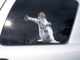 Army Squirrel With Bazooka Window Decal