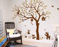 Nursery Tree Decal Forest Scene Forest Animals Wall Stickers Kr083 1 Studioquee On Artfire
