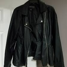 peplum faux leather jacket plus size