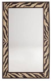 melange zebra motif framed mirror