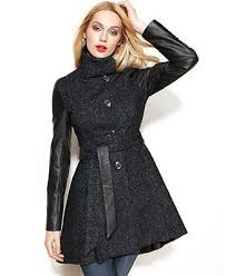 steve madden coat faux leather sleeve