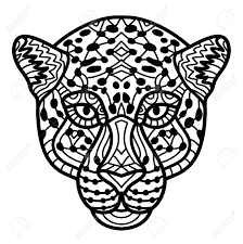 Hand Drawn Cheetah With Ethnic Doodle Pattern Coloring Page