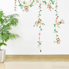 Cartoon Monkey Climbing Flower Vine Wall Decals Kids Room Nursery Wall Decor Wallpaper Poster Boys Girls Room Infant Wall Stickers Wall Stickers Cheap Wall Stickers Children From Magicforwall 7 79 Dhgate Com