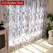 Floral Tulle Curtains For Living Room Purple Sheer Curtains For Children Bedroom Door Short Kitchen Window Curtains Kids Drapes