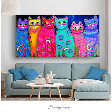 100 Hand Painted Colorful Cats Canvas Paintings For Kids Room Wall Posters Pop Art Decorative Canvas Cuadros Picture Home Decor Painting Calligraphy Aliexpress
