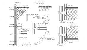 Chain Link Metallic Fence Installation Details Dwg File Cadbull