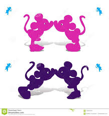 Silhouette Of Mickey Mouse Boy And Girl Kissing, Illustration Stock Vector  - Illustration of hong, illustrative: 109584418