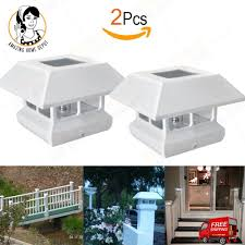 2x White Solar Post Cap Light Fence 4 X 4 Garden Yard Outdoor Plastic Deck Mount White Fencing For Sale Solar Post Caps Plastic Decking