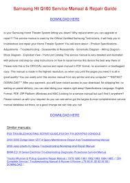 Samsung Ht Q100 Service Manual Repair ...