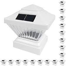 2 Pack White Outdoor Garden 4 X 4 Solar Led Post Deck Cap Square Fence Light Landscape Lamp Lawn Pvc Vinyl Wood Pl246w White Amazon Com