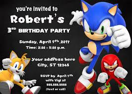 Sonic Birthday Invitation Digital Printable Sonic Personalized