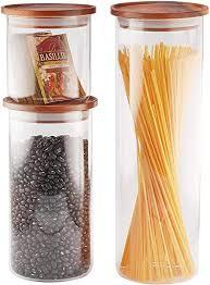 essos glass jars with wood lids set of