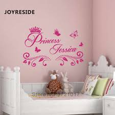 Princess Custom Girls Name Art Design Wall Sticker Home Baby Girls Bedroom Wall Decor Wall Stickers Personalized Name Vinyl M397 Wall Stickers Aliexpress