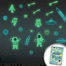 Amazon Com Luminous Space Wall Sticker For Kids Room Glow In The Dark Wall Furniture Ceiling Decal Astronauts Spaceships Rockets Aliens Stars Stickers Baby