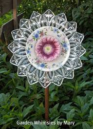 garden stake glass plate flower by
