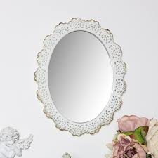 white fl wall mirror oval lace