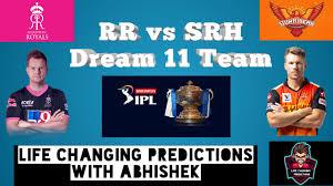 RR vs SRH Dream 11 Team
