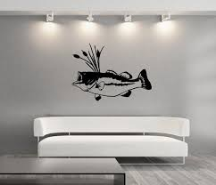 Wall Decal Bass Fish With Cattails Vinyl Wall Decal Graphic Sticker 22312 On Etsy 30 00 Wall Decals Vinyl Wall Decals Deer Decal