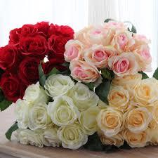 10 قطعة باقة بوكيه ورد صناعي الزهور لمسة حقيقية الزهور وهمية ل