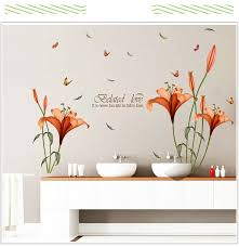 Lily Flowers Wall Sticker On The Wall Vinyl Wall Stickers Gome Decor Bedroom Backdrop Wall Decals Flower Wall Sticker Wall Stickerdecoration Bedroom Aliexpress