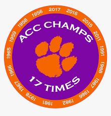 Clemson Tiger Paw Acc Champions 17 Time Decal Diecut Clemson Tiger Paw Hd Png Download Transparent Png Image Pngitem
