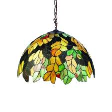 stained glass leaf hanging light