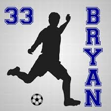 Soccer Player Boys Name Vinyl Decal Soccer Silhouette Number Wall Room Sticker Ebay